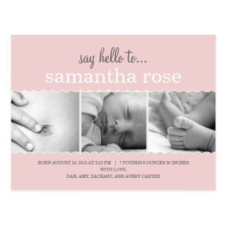 Sweet Scallops Birth Announcement - Baby Girl Postcard