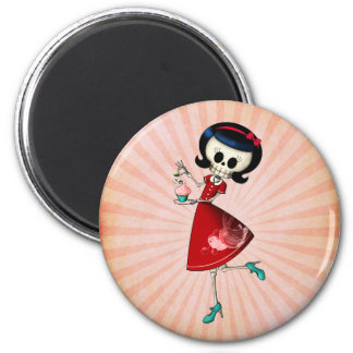 Sweet & Scary Skeleton Girl 2 Inch Round Magnet