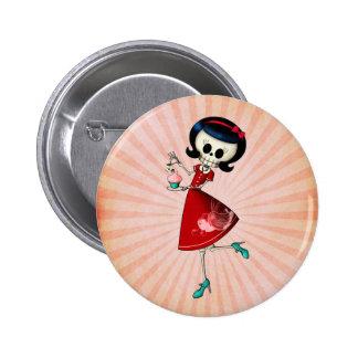Sweet & Scary Skeleton Girl Button