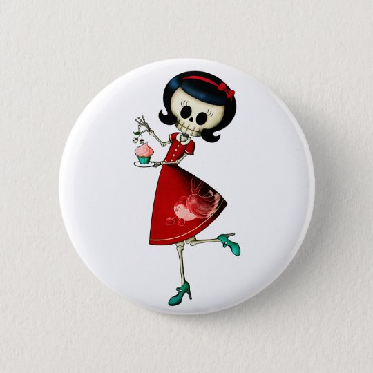 Sweet & Scary Skeleton Girl Button