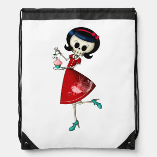 Sweet & Scary Skeleton Girl Drawstring Bag