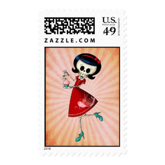 Sweet Scary Skeleton Girl Postage