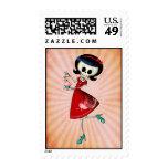 Sweet & Scary Skeleton Girl Postage Stamp