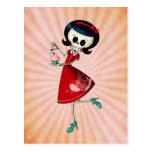 Sweet & Scary Skeleton Girl Postcard