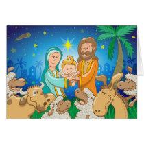 Sweet scene of the nativity of baby Jesus Card