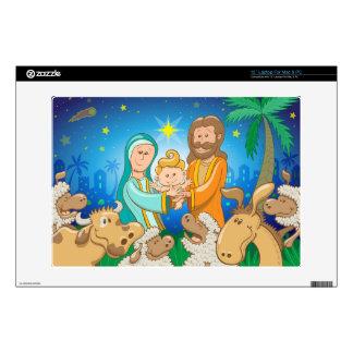 Sweet scene of the nativity of baby Jesus Laptop Skins