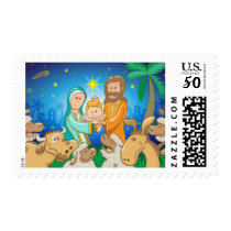 Sweet scene of the nativity of baby Jesus Postage