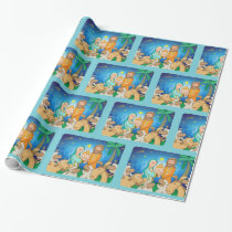 Sweet scene of the nativity of baby Jesus Wrapping Paper