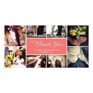 SWEET SCRIPT COLLAGE WEDDING THANK YOU CARD CUSTOM PHOTO CARD