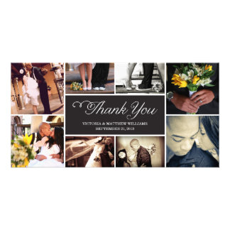 SWEET SCRIPT COLLAGE WEDDING THANK YOU CARD PHOTO CARD