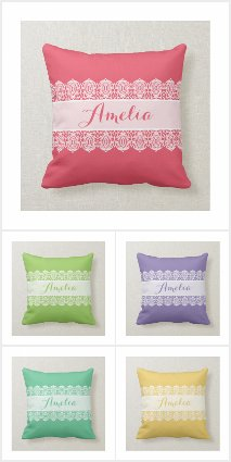 Sweet Script Lace Pillows
