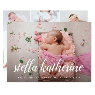 Sweet Script   Photo Collage Birth Announcement