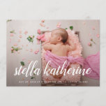 "Sweet Script | Photo Collage Birth Announcement<br><div class=""desc"">Elegant birth announcements feature your favorite newborn photo in full bleed,  with baby&#39;s name overlaid in white calligraphy script. Personalize with baby&#39;s birth stats beneath. Add six additional photos to the back in a collage layout,  with the parents&#39; or family&#39;s names in the center.</div>"