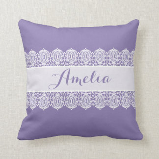 Sweet Script - Soft Purple Lace Monogram Throw Pillow