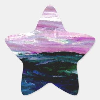Sweet Season Ocean Seascape Sunrise Waves Star Sticker
