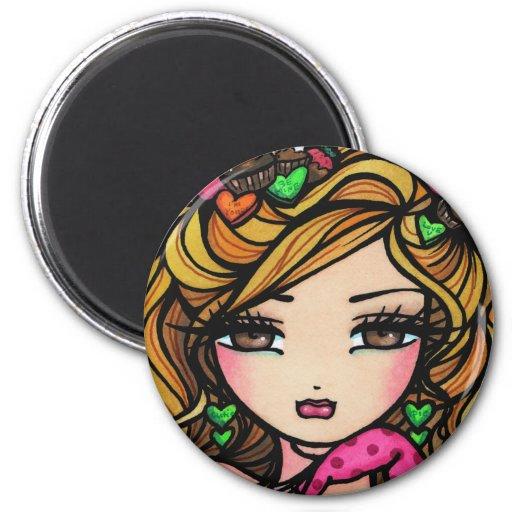 """Sweet Selena"" Fairy Fantasy Valentine 2 Inch Round Magnet"