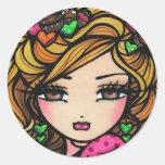 """Sweet Selena"" Fairy Fantasy Valentine Classic Round Sticker"