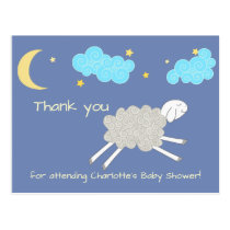 Sweet Sheep Lullaby Thank You Baby Shower Postcard