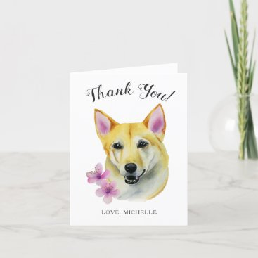 Sweet Shiba Inu Dog with Pink Flower Thank You Card