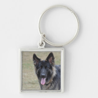 Sweet Shiloh Shepherd Silver-Colored Square Keychain