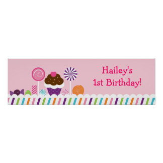 Sweet Shop Candy Birthday Banner Sign