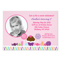 Sweet Shop Candy Photo Birthday Invitations