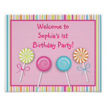 Sweet Shop Lollipop Birthday Baby Shower Sign Poster