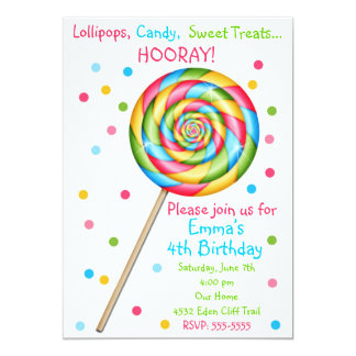 Sweet Shop Lollipop Birthday Invitations