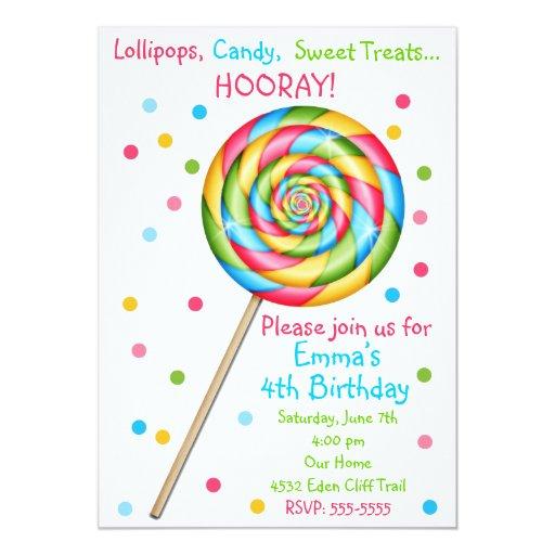 "Sweet Shop Lollipop Birthday Invitations 5"" X 7"" Invitation Card"