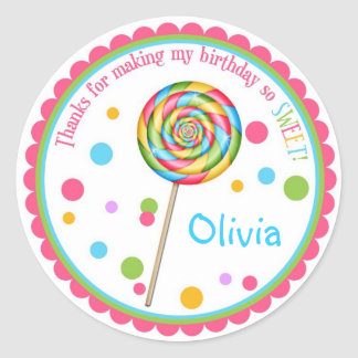 Sweet Shop Lollipop Birthday Stickers