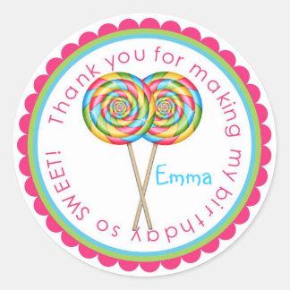 Sweet Shop Lollipop Birthday Stickers