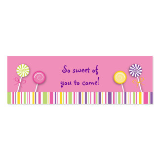 Sweet Shop Lollipop Goodie Bag Tags Business Cards