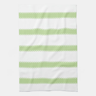 Sweet Shop Mint Green Ribbons on White Dish Towels