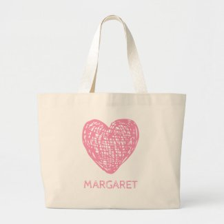 Sweet Shop Pink Chalkboard Heart Personalized Large Tote Bag
