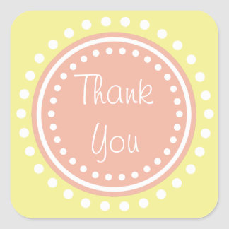 Sweet Shop Polka Dot Peach and Yellow Thank You Square Sticker