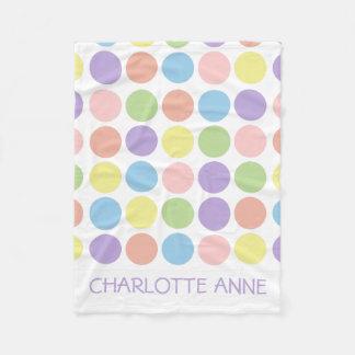 Sweet Shop Polka Dots on White Personalized Fleece Blanket
