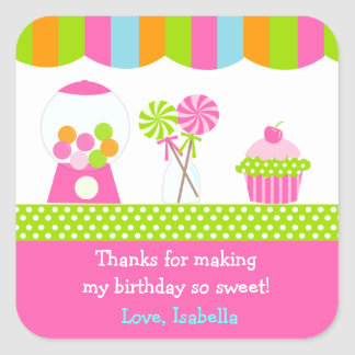 Sweet Shoppe Candy Birthday Pary Favor Stickers