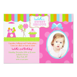 "Sweet Shoppe Candy Photo Birthday Party Invitation 5"" X 7"" Invitation Card"