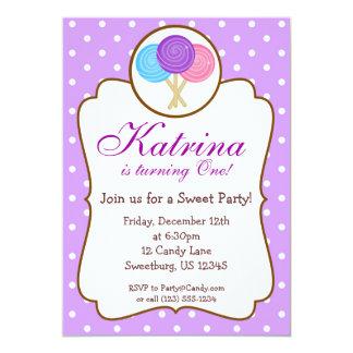 Sweet Shoppe Lollipop Birthday Party Invitation