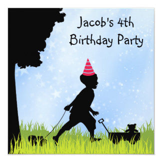 Sweet Silhouette Boys 4th Birthday Party Card