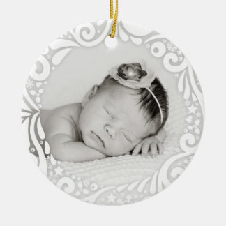 Sweet Simple White Swirl Design | custom photo Ceramic Ornament