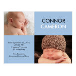 Sweet Simplicity Birth Announcement - Blue Postcard