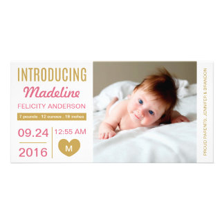 Sweet Simplicity Birth Announcement Photo Card