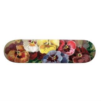 Sweet Sissy Vintage Floral Pansy Girly Skateboard