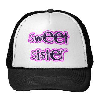 SWEET SISTER PINKS BLACK WHITE GLITTER FAMILY HATS