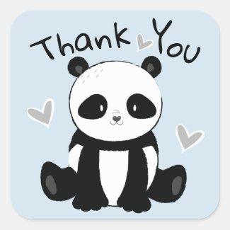 Sweet Sitting Panda Bear Thank You Square Sticker