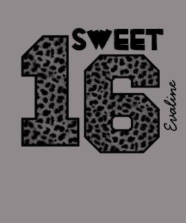 Sweet Sixteeen 16 Birthday Leopard Custom Name V01 T-shirt