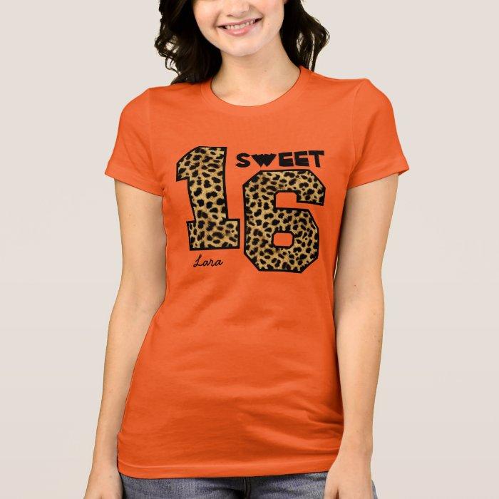 Sweet Sixteeen 16 Birthday Leopard Custom Name V0a T Shirt
