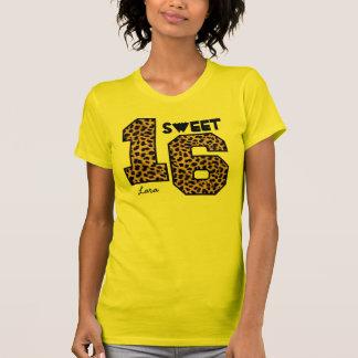 Sweet Sixteeen 16 Birthday Leopard Custom Name V0A Tee Shirts