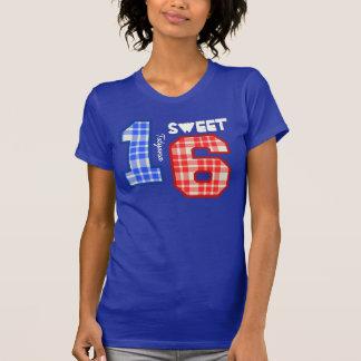 Sweet Sixteeen 16 Birthday PLAID Custom Name V94D T-Shirt